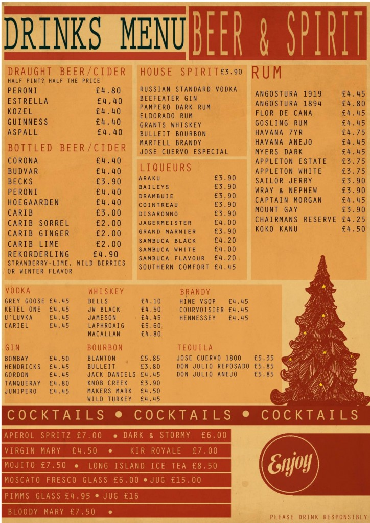 Current Beers & Spirits menu