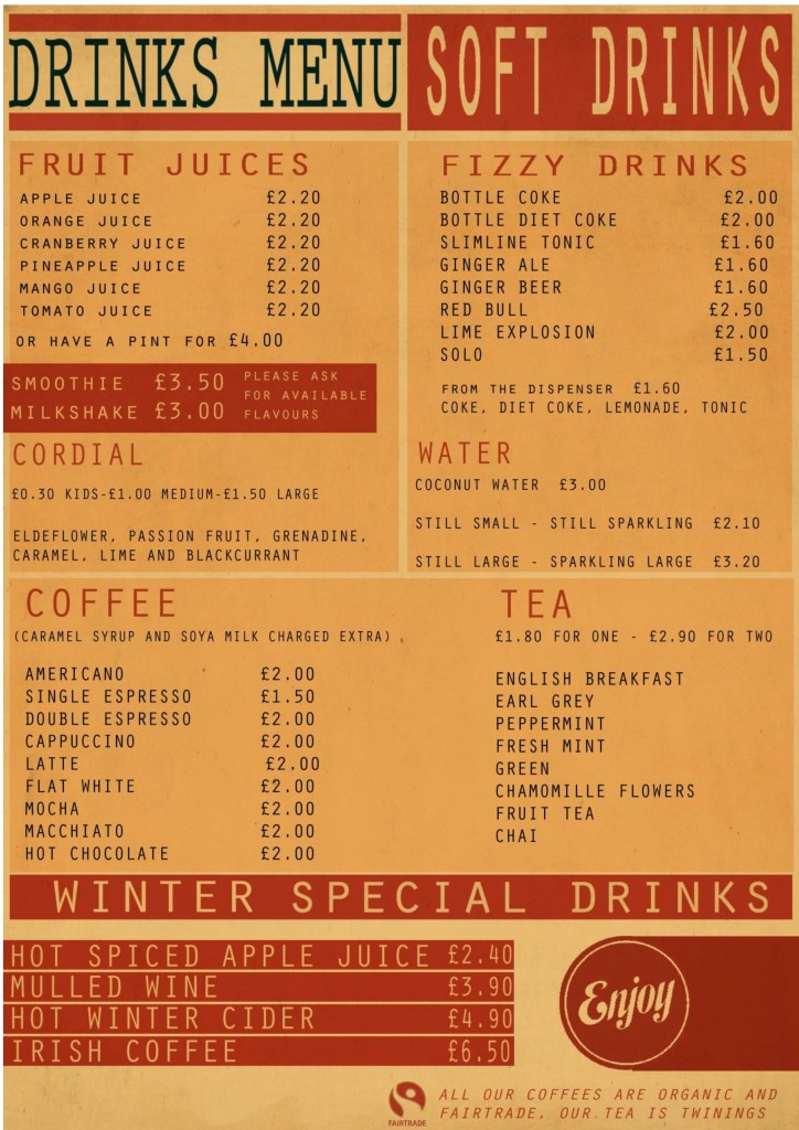 Current Soft drinks menu