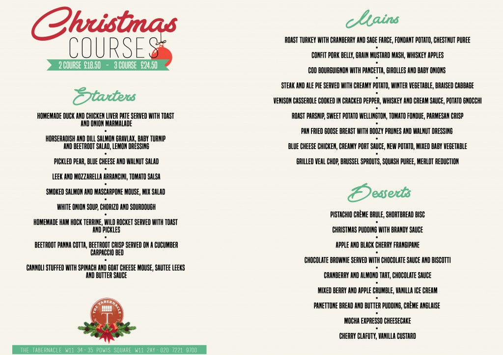 CHRISTMAS MENU 2-3 COURSE