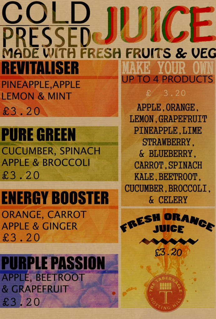 Fresh Juice menu